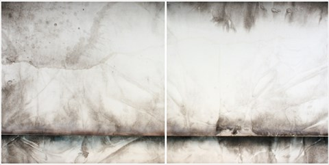 Ted LINCOLN Relativity of Speed 2012 sumi ink, acrylic + automotive clear on rice paper on alumnium 200x100cm [diptych]